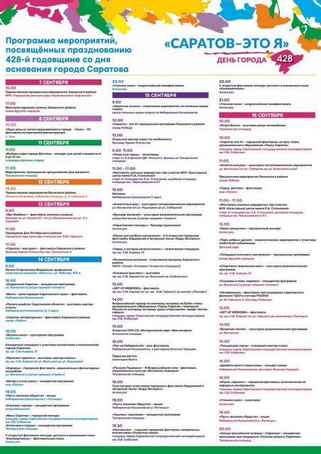 Программа мероприятий на День города в Саратове